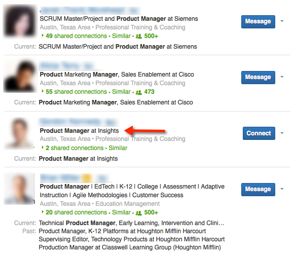 LinkedIn Advanced Search List