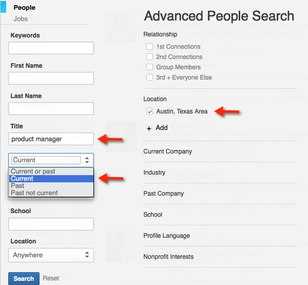 LinkedIn Advanced Search Current Title